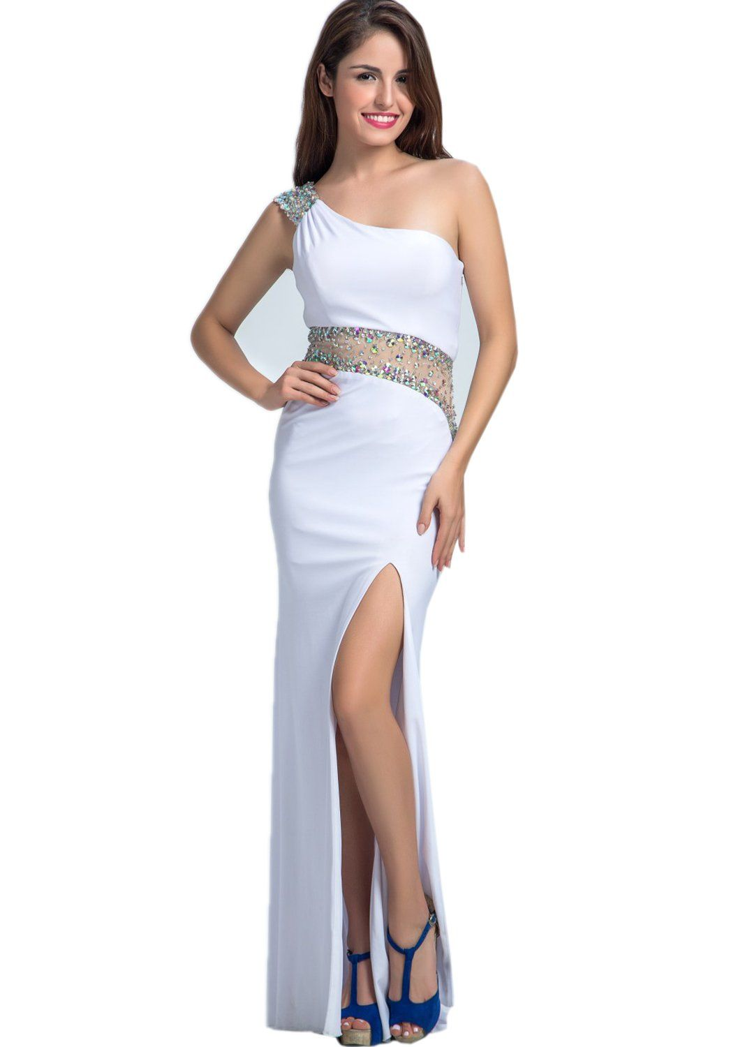 Belle house long sexy prom dress for women one shoulder celebrity