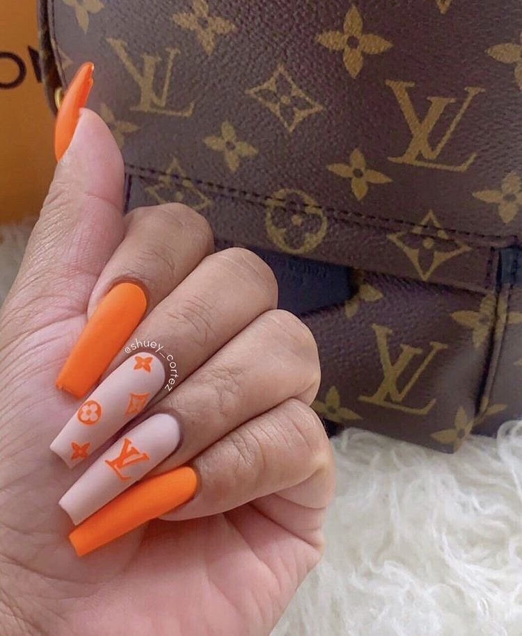 Orange Louis Vuitton Nail Design Summer Acrylic Nails Best Acrylic Nails Gucci Nails
