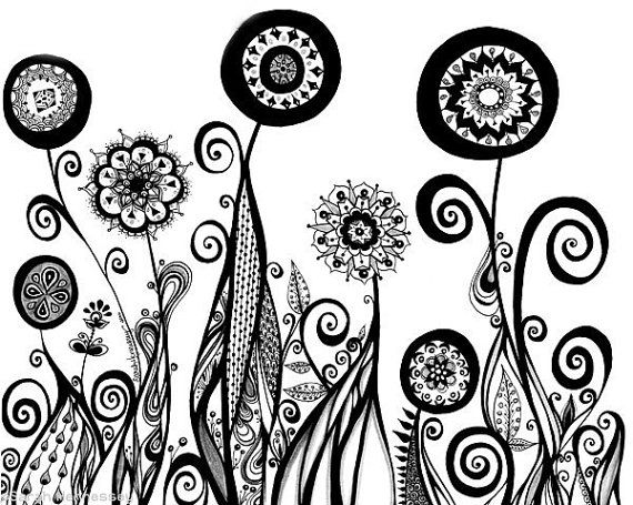Abstract Line Drawings Of Flowers