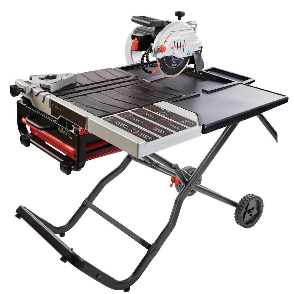 Beast 10 In 15 Amp 115 Volt Wet Tile Saw Kit With Gravity Folding