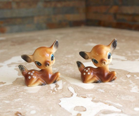 1950s kitschy celluloid Bambi deer figurines - celluloid deer figurines - made in Hong Kong - vintage plastic fawns - Christmas kitsch