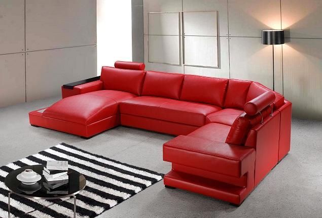 Charmant ORION MODERN RED LEATHER SOFA SET