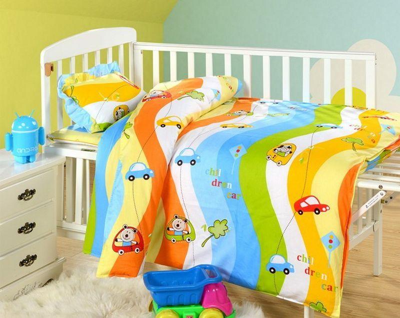 Colorful Sports Cars Blue Cartoon Crib Comforter Set Baby