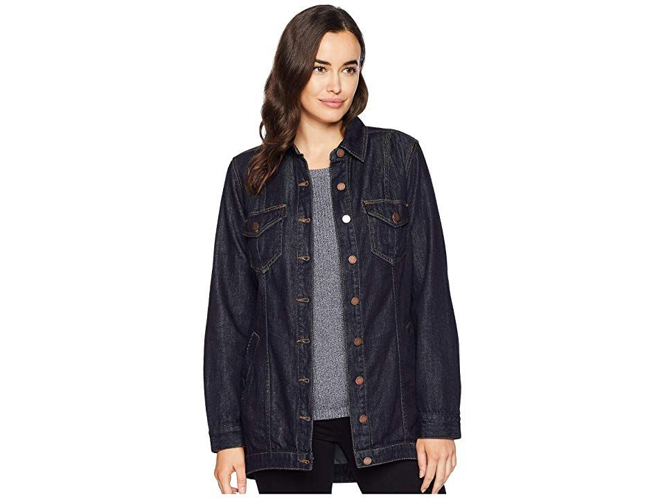 Liverpool Womens Classic Button Front Jacket in Powerflex Knit Denim