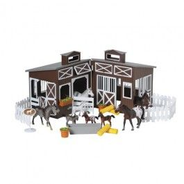 Deluxe Horse Stable Play Set - Round up the 4 sets of mother and baby horses into the white fence corral or  the deluxe brown stable. The white-trimmed barn opens to a play space, a perfect place to add the bales of hay and other accessories. Includes Thoroughbred, Arabian, Appaloosa, and Andalusia horses and their matching foals.   - $49.99