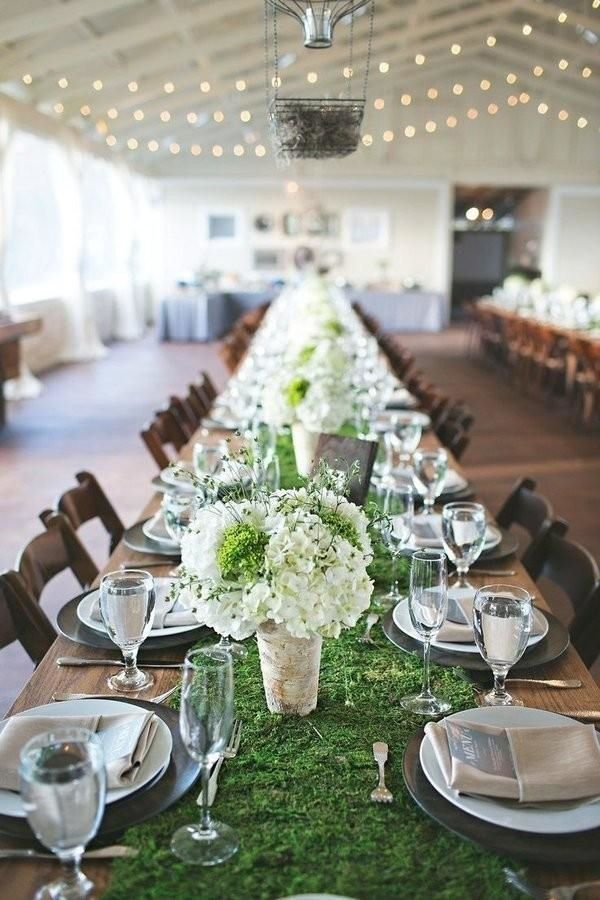 9 Trending Table Runners For Weddings Mywedding Moss Table Runner Rustic Wedding Table Table Runners Wedding