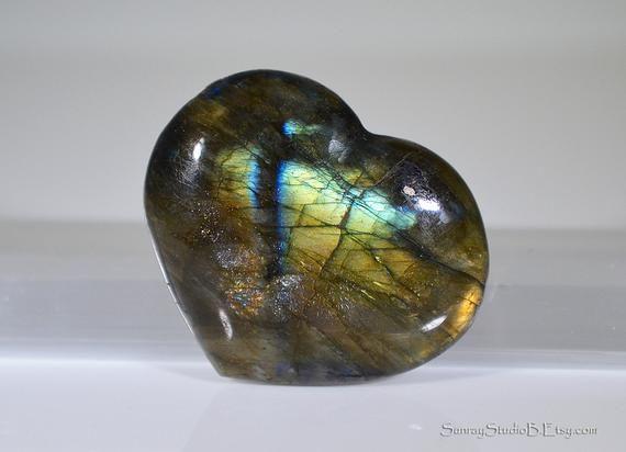 Labradorite Puffy Hearts Pocket Hearts Natural Gemstone Crystal Hearts