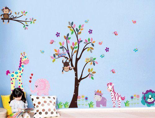 Animal Wall Stickers singe hibou Arbre Jungle Zoo Nursery Bébé Enfants Chambre Décalcomanie Art