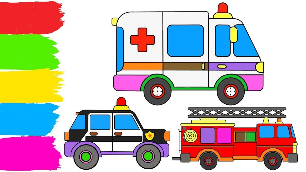 Learn Colors For Kids Toy Ambulance Police Car Toy Fire