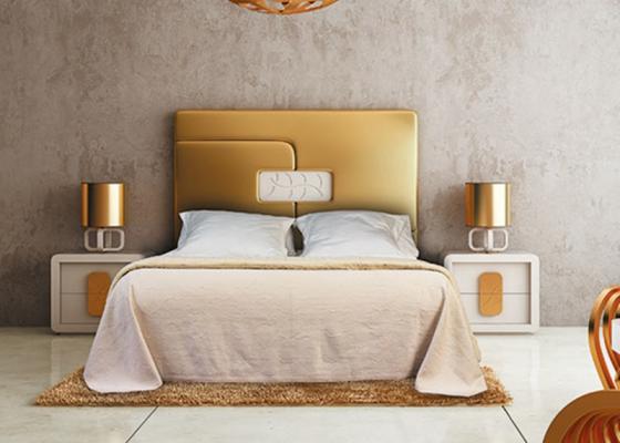 Cabecero tapizado acolchado oro contemporaneo for Muebles de dormitorio contemporaneo