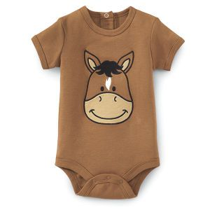 Baby country bib horse flowers