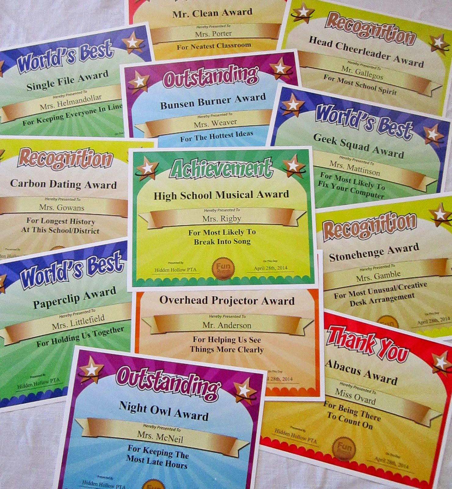 From 101 Funny Teacher Awards by Larry Weaver   certificates