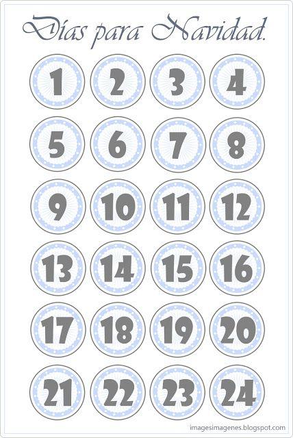 Calendario de adviento para imprimir. | Moldes, patrones, templates ...