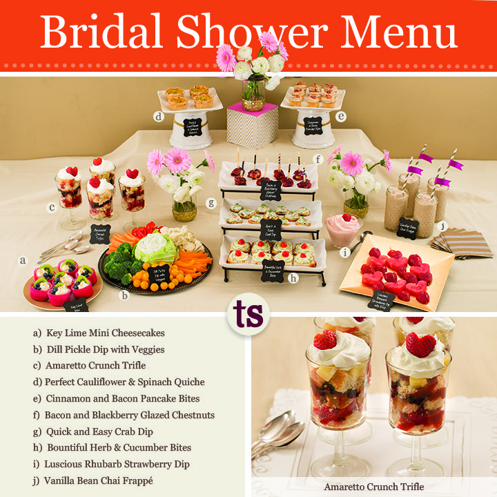 Create a delicious wedding shower to remember with our Bridal Shower menu that includes Key Lime Mini Cheesecakes, Bountiful Herb & Cucumber Bites, Amaretto Crunch Trifles and more!