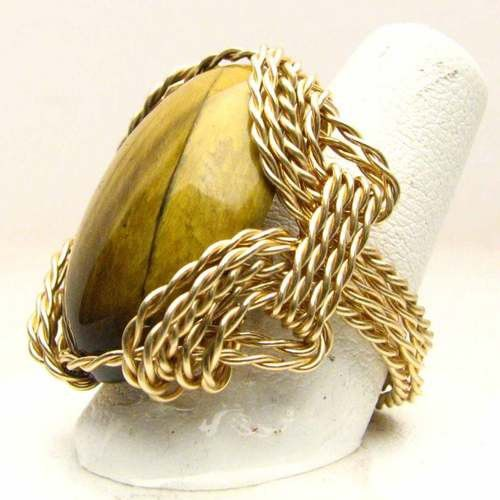 Handmade 14kt Gold Filled Wire Wrap Tiger Eye Agate by JandSGems