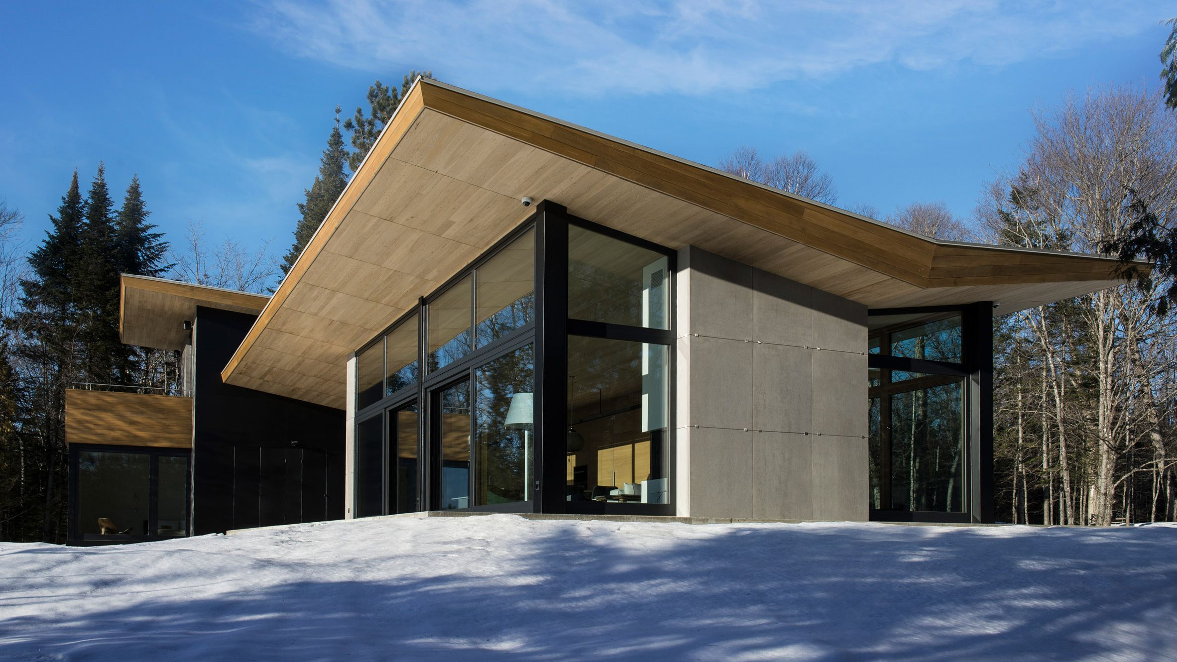 Quebec Ski Chalet By Yh2 Features V Shaped Roof Modelled On Bird S