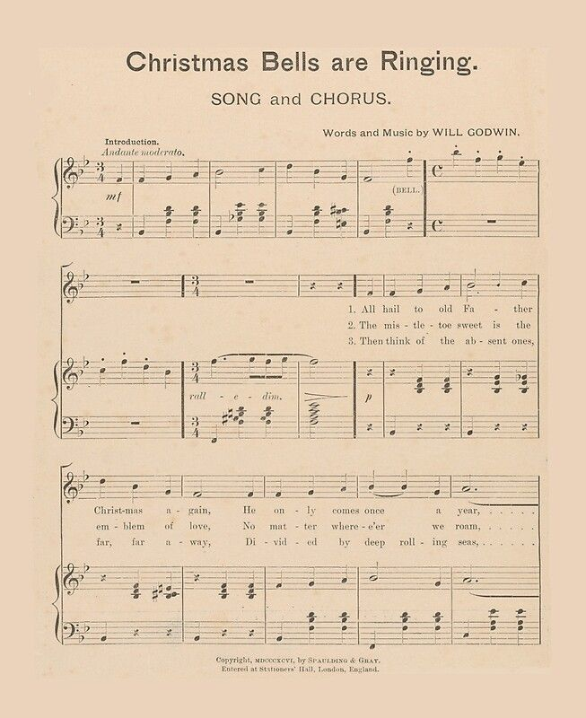 Vintage Holiday Sheet Music Carol Christmas Bells Are Ringing 1896 Holiday Christmas Click to see all the products you can get this Christmas picture on