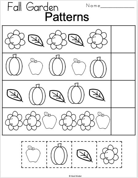 Free Fall Kindergarten Patterns Math Worksheet Madebyteachers Patterning Kindergarten Fall Kindergarten Kindergarten Math Patterns