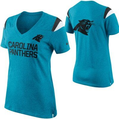 d81aee3dd Women s Carolina Panthers Nike Carolina Blue Fan Top V-Neck T-Shirt ...