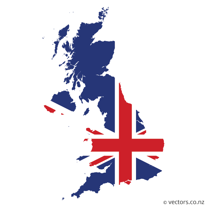 Flag Vector Map Of The United Kingdom Map Of Great Britain Flag Vector Uk Flag