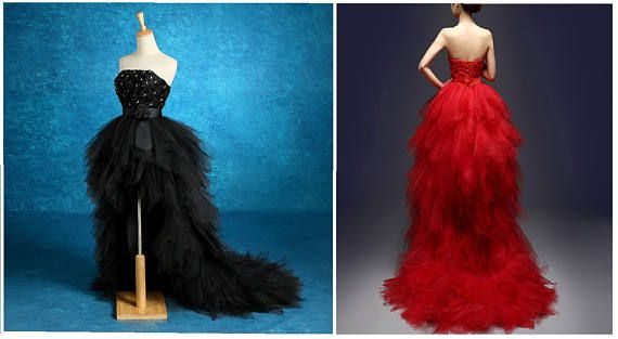 Strapless BLACK, RED or White Wedding Gown, High Low w/ Train ...