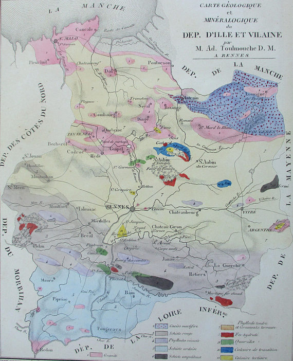 Map Of France In English.1835 France Near English Channel La Manche Geologic And Minerals