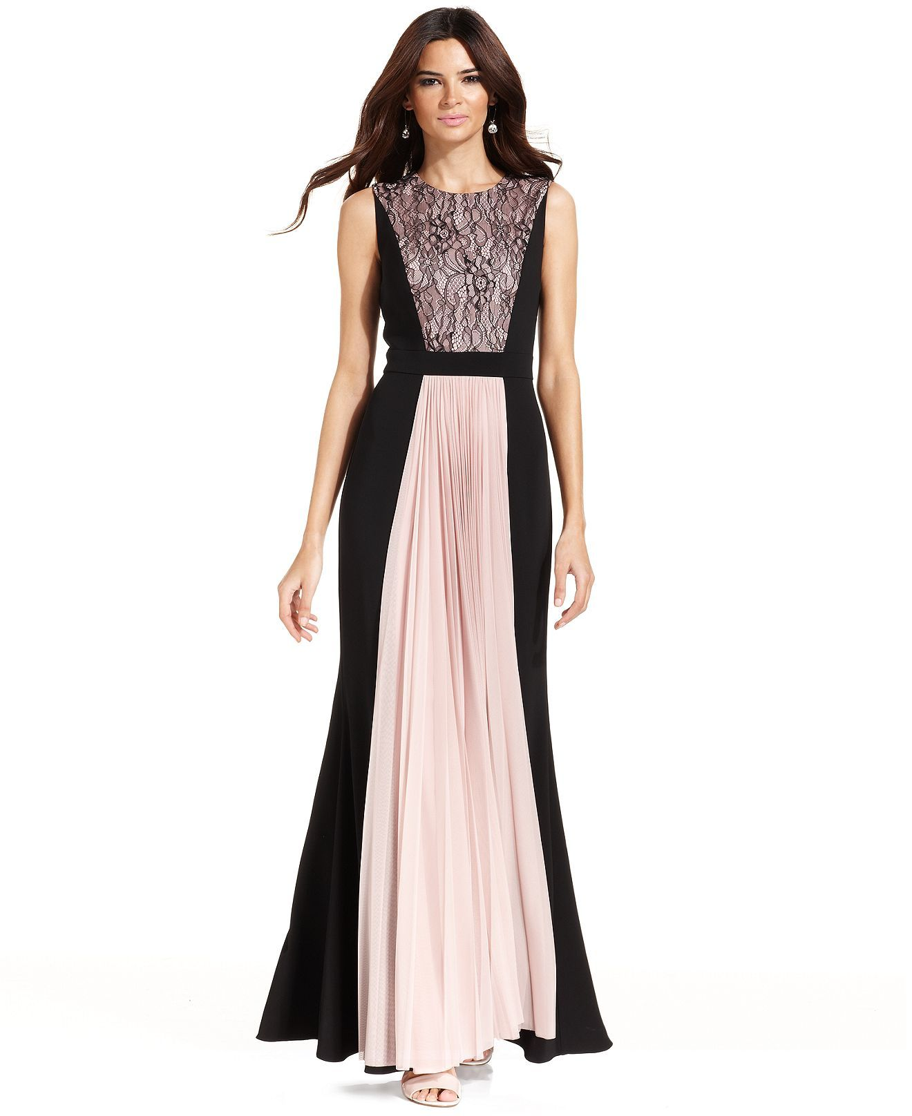 JS Collections Dress, Sleeveless Contrast Lace-Panel Pleat Gown ...