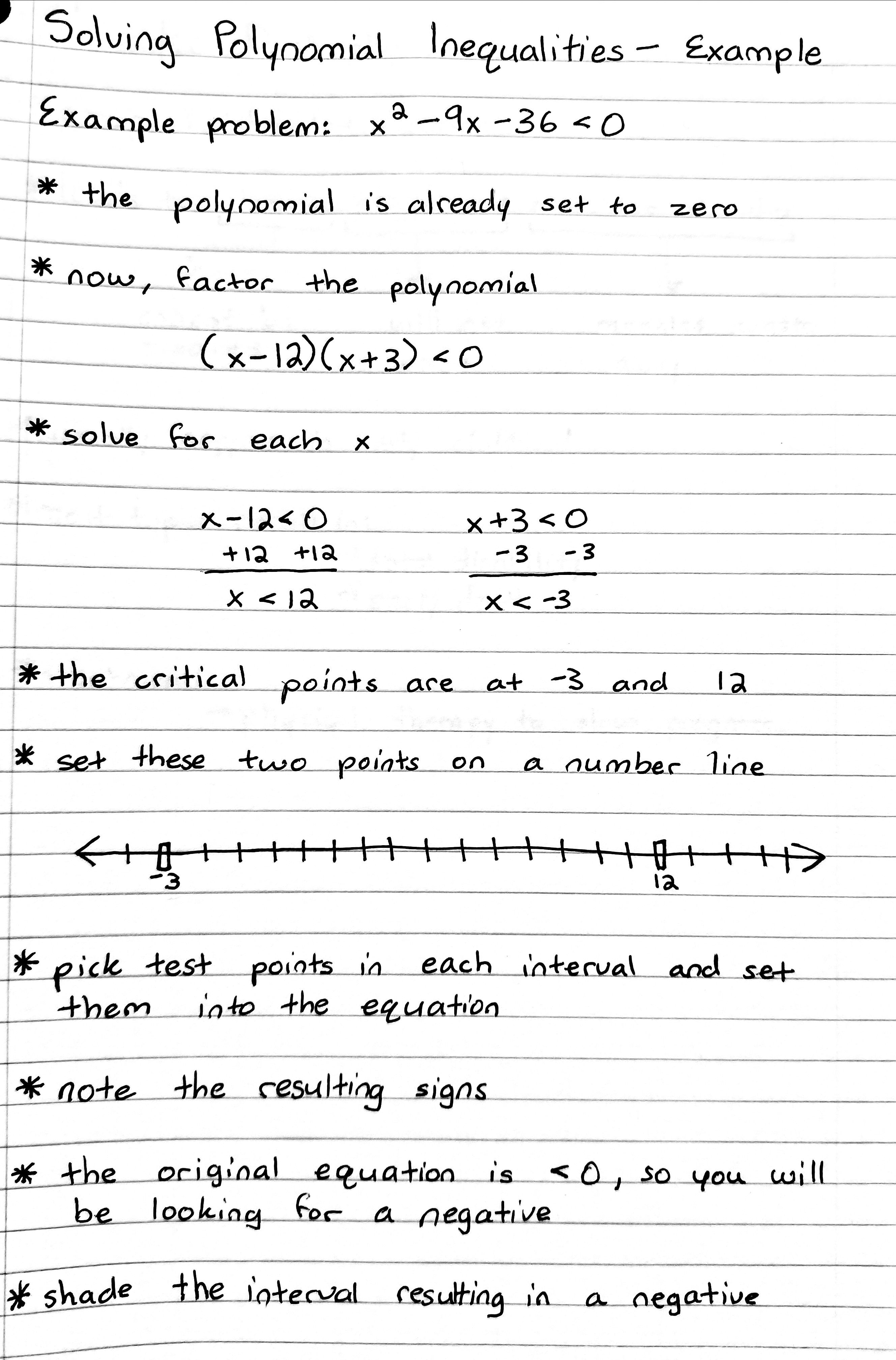 Solving Polynomial Inequalities Example Teaching Writing Physics Notes Arithmetic