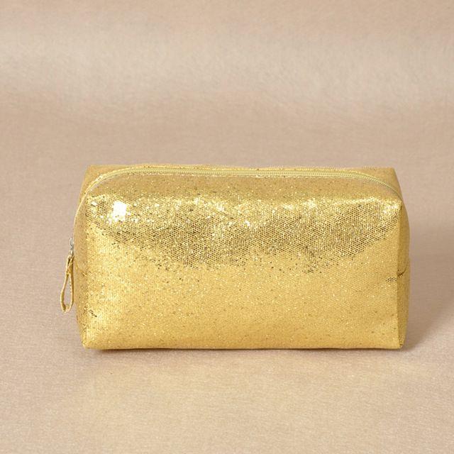 Diseñador de la marca Bolsas de Cosméticos Lentejuelas Bolsas de Aseo de Lujo Oro Plata Mujeres Maquillaje Organizador Bolsa de Viaje Esteticista Compone la Caja
