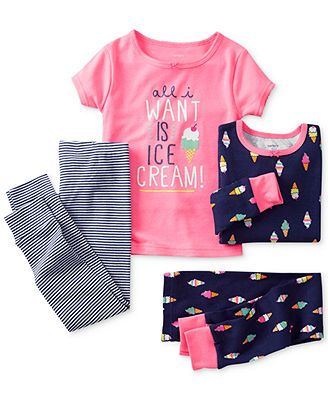 abee622b3ff0 Carter s Toddler Girls  4-Piece Fitted Ice Cream Pajamas