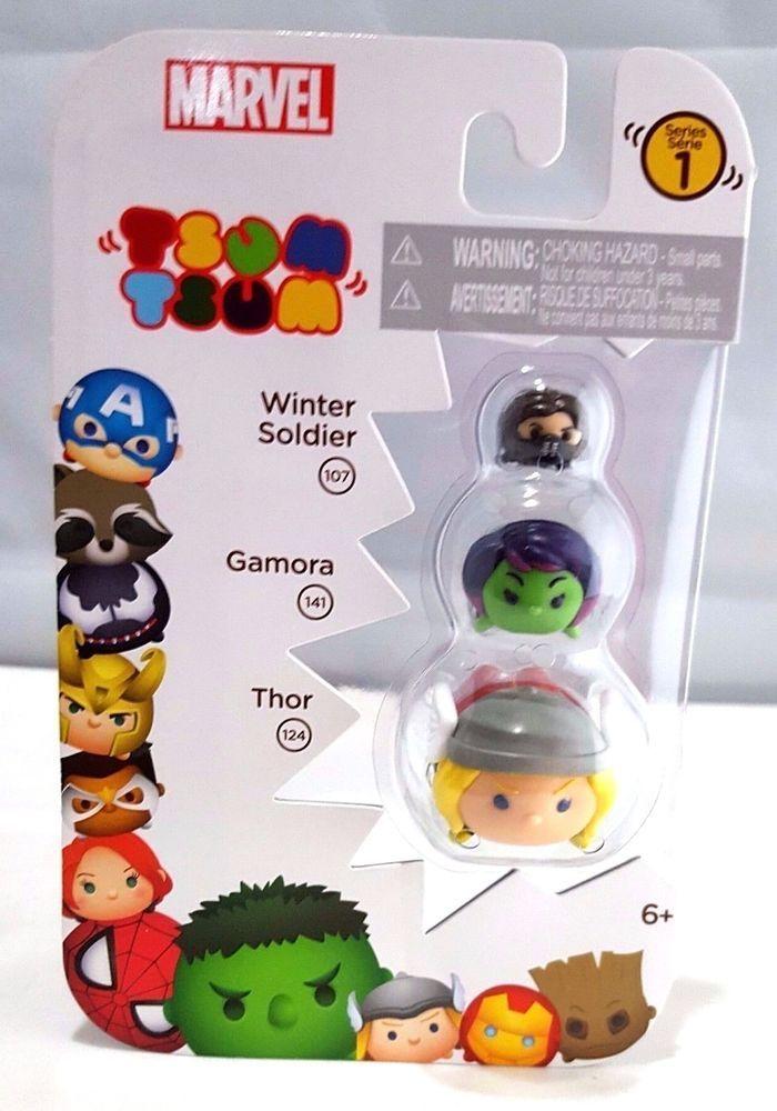 Marvel Tsum Tsum Thor Gamora Winter Soldier 3 Pack Stacker Vinyl Series 1 New Tsumtsum Marvel Tsum Tsum Winter Soldier Gamora