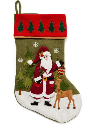 santa stocking with felt santa and reindeer Christmas Decorations