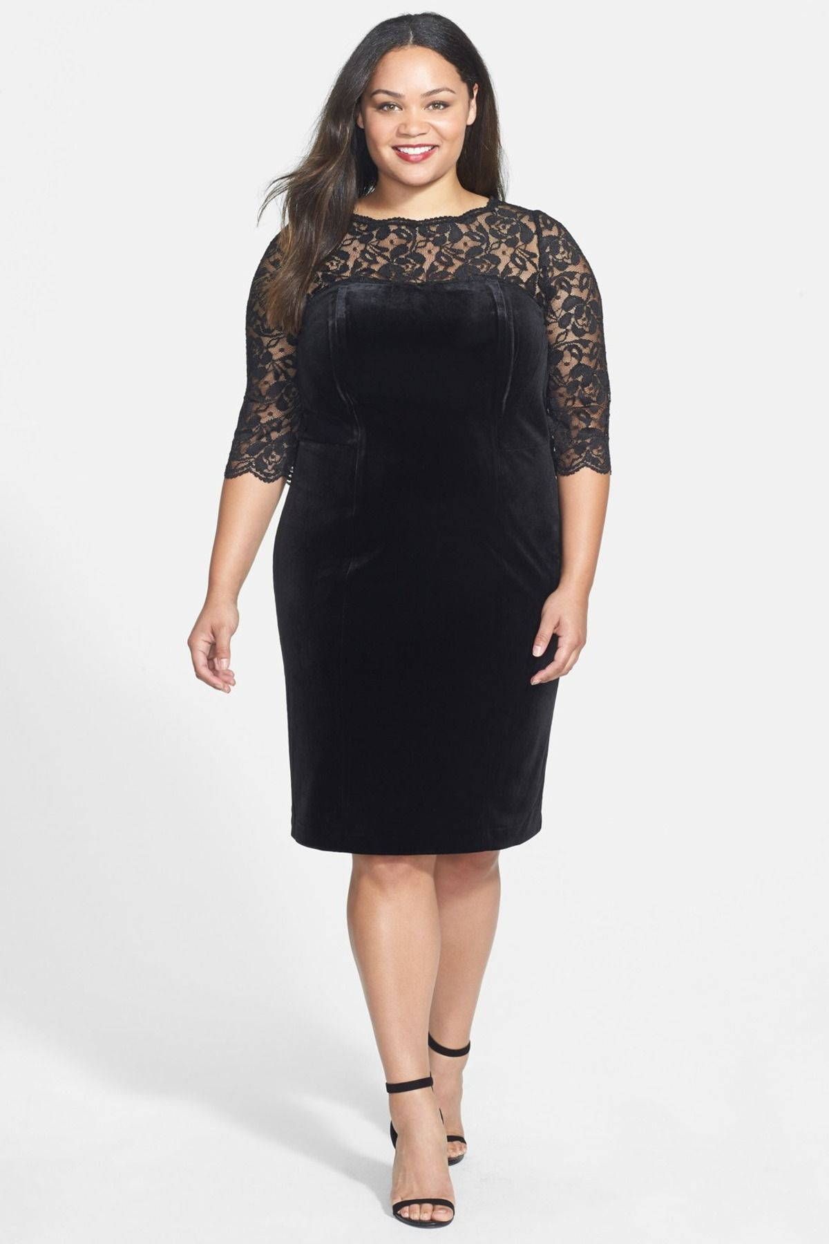 Eliza J | Lace & Stretch Velvet Cocktail Dress (Plus Size ...