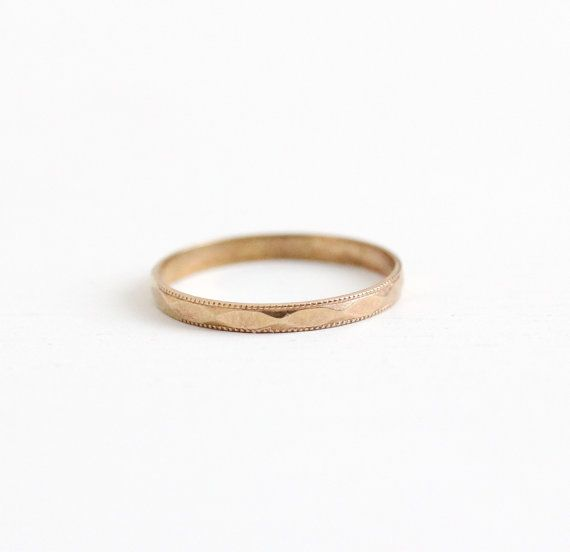 Vintage 10k Rose Gold Baby Ring Band Art Deco 1930s Size 2 Tiny