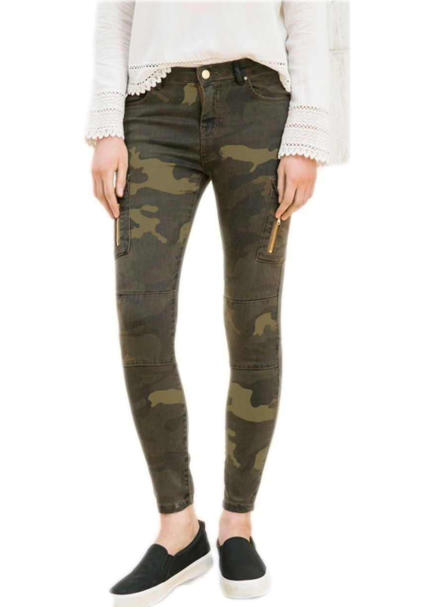 Camouflage Print Jogger Skinny Jeans With Pockets_Butt Lifting ...