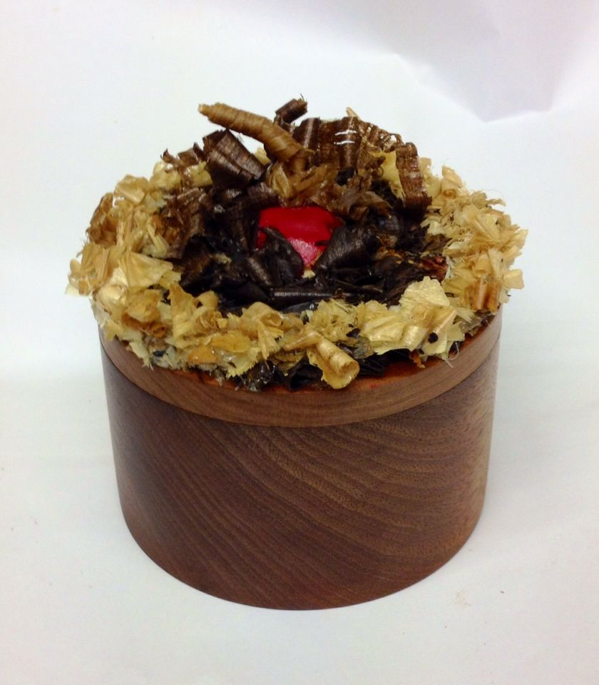Chocolate gateau mahogany maple and walnut wood