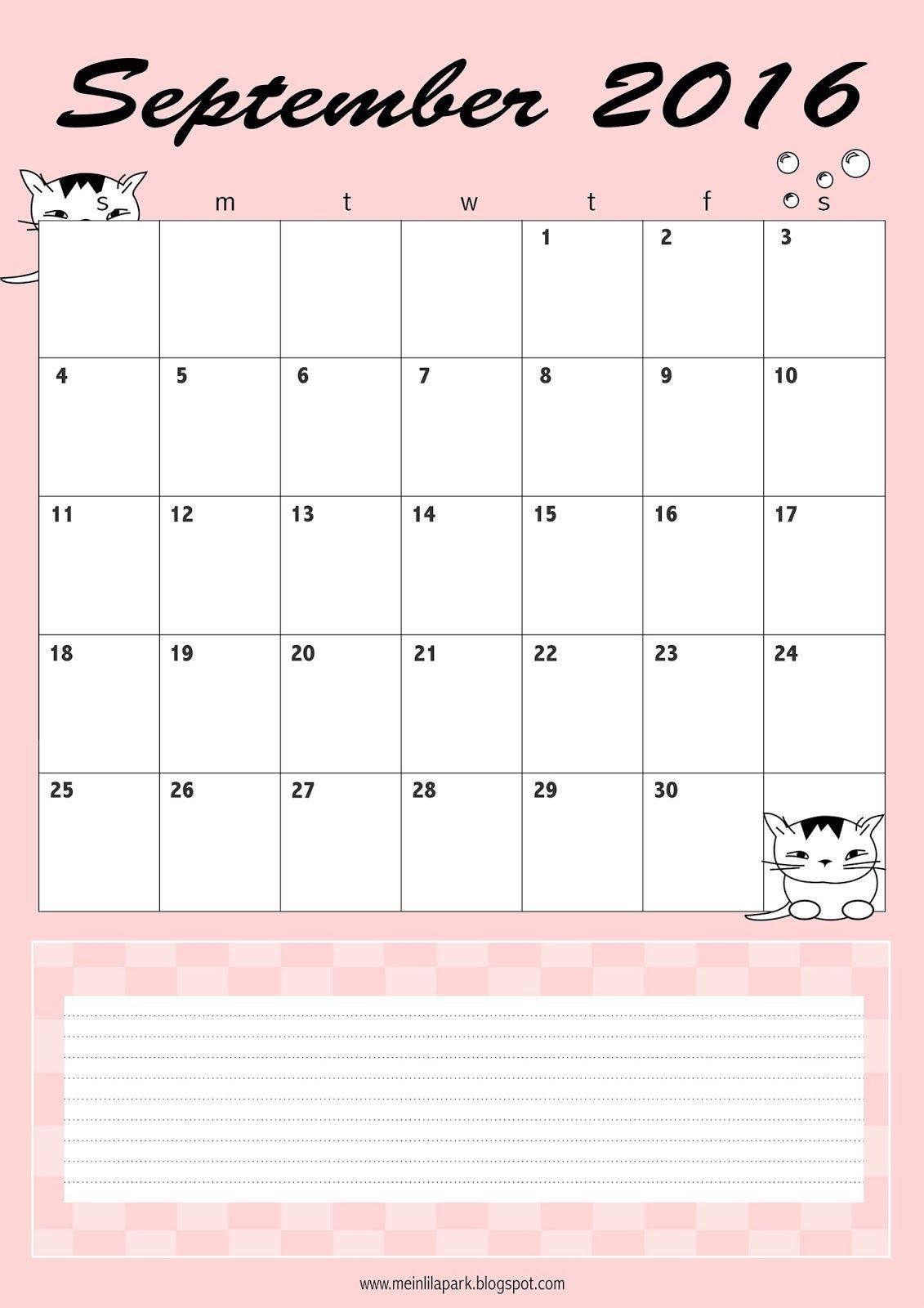 Free Printable September Calendar Planner