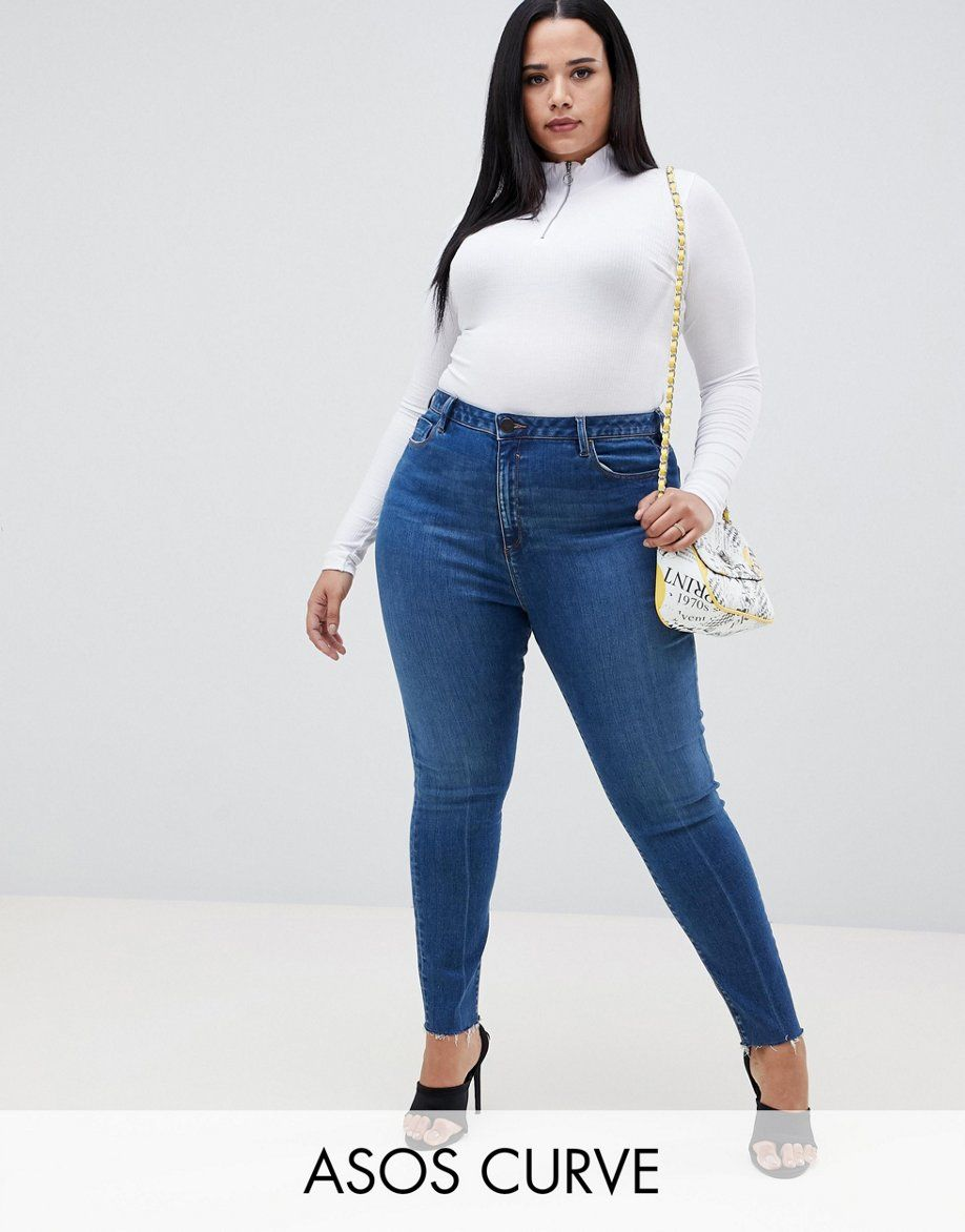 f42e606f6fdba DESIGN Curve Ridley high waist skinny jeans in dark stone wash with ...