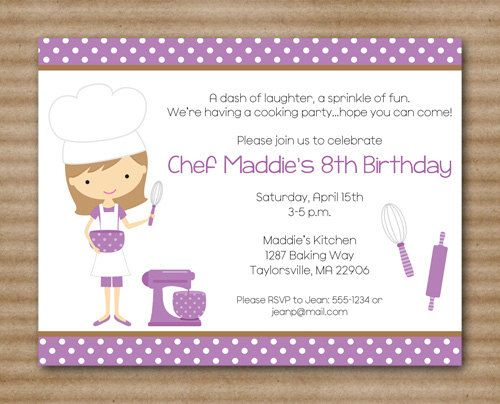 Kids Cooking Party Invitation Baking Party by PaperHouseDesigns – Kids Cooking Party Invitations