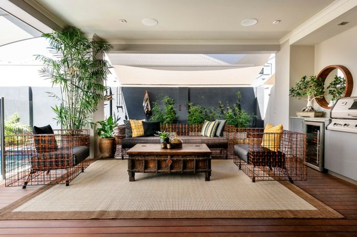idee tapis salon jonc de mer outdoor