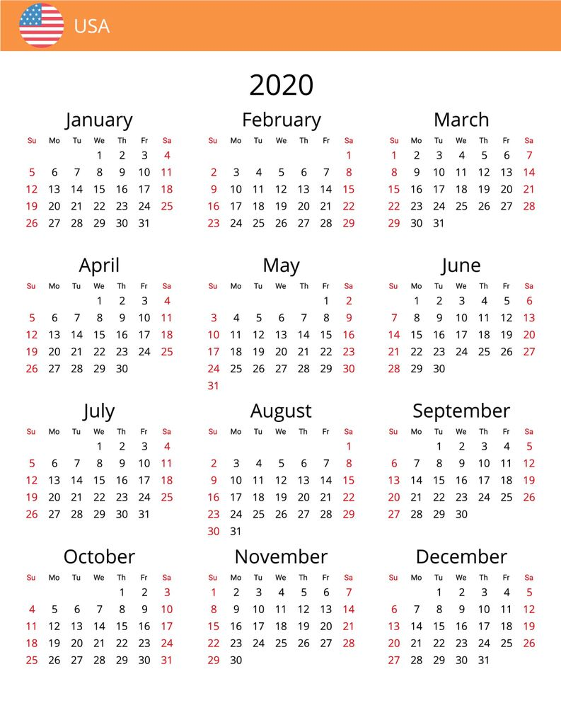 Free Printable Calendar 2020 All Country