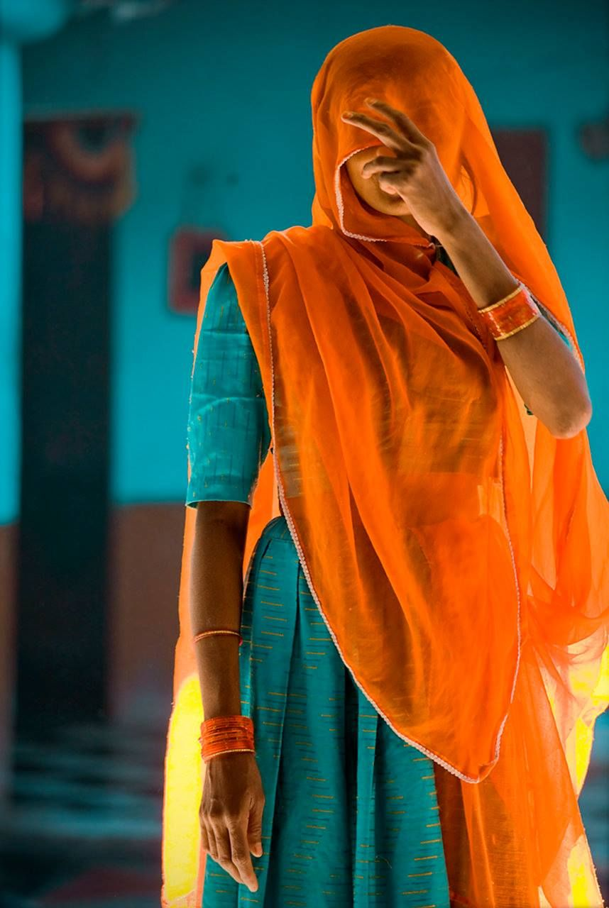 Orange And Aqua: India Colors, Documentary Photography, Orange