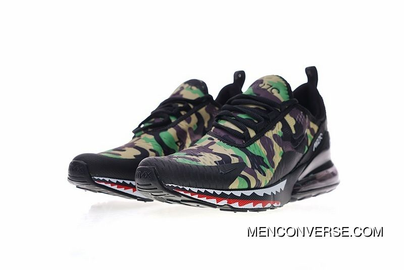 huge selection of 8b2db 6669d Creative Customized Japanese Camo Bape A Bathing APE X Nike Air Max 270  Series Heel Half-palm As Jogging Shoes Shark Green Camo AH6799-003 Best