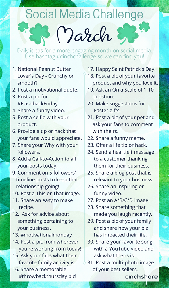 Here S A March Social Media Challenge That You Can Use To Help Plan Out Your Cont Social Media Challenges Social Media Calendar Marketing Strategy Social Media