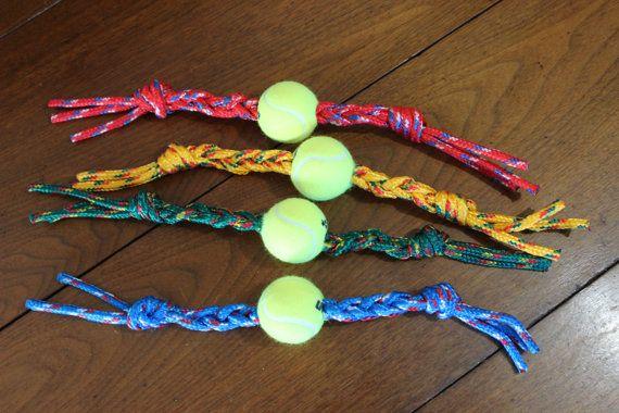 Handmade Tennis Ball Rope Dog Toy Durable Rope Chew by TheK9Corner