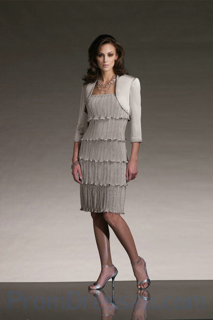Pleated Satin And Chiffon Multi Tiered Features Beaded Classy Mother