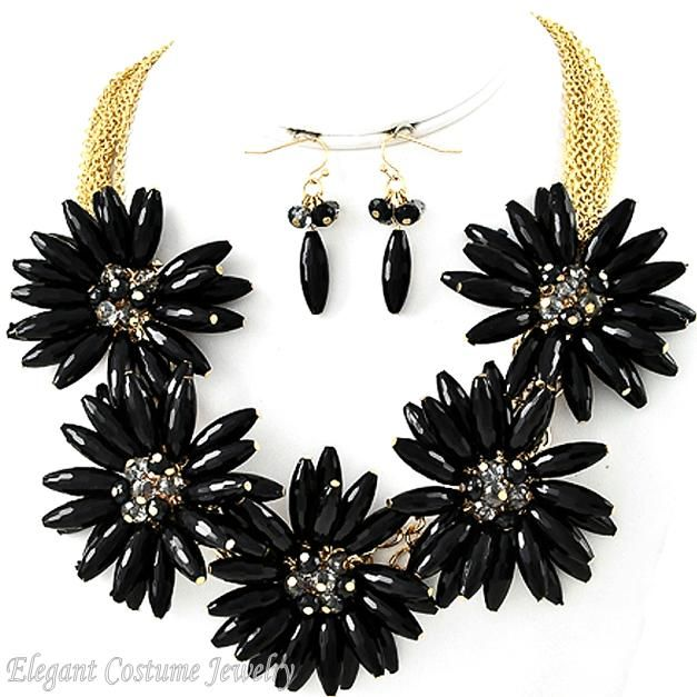 Black Gold Big Flower Chunky Necklace Set Costume Jewelry