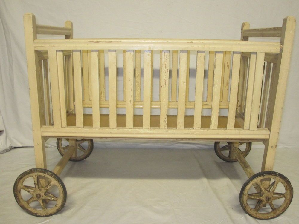 Vintage Wooden Doll Crib With Wheels Wood Cradle Playpen W Kitty