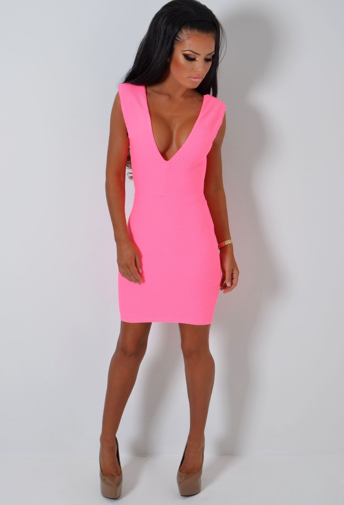 e95ac3c8cf Crushin Neon Pink Textured Super Stretch Deep Plunge Bodycon Mini Dress