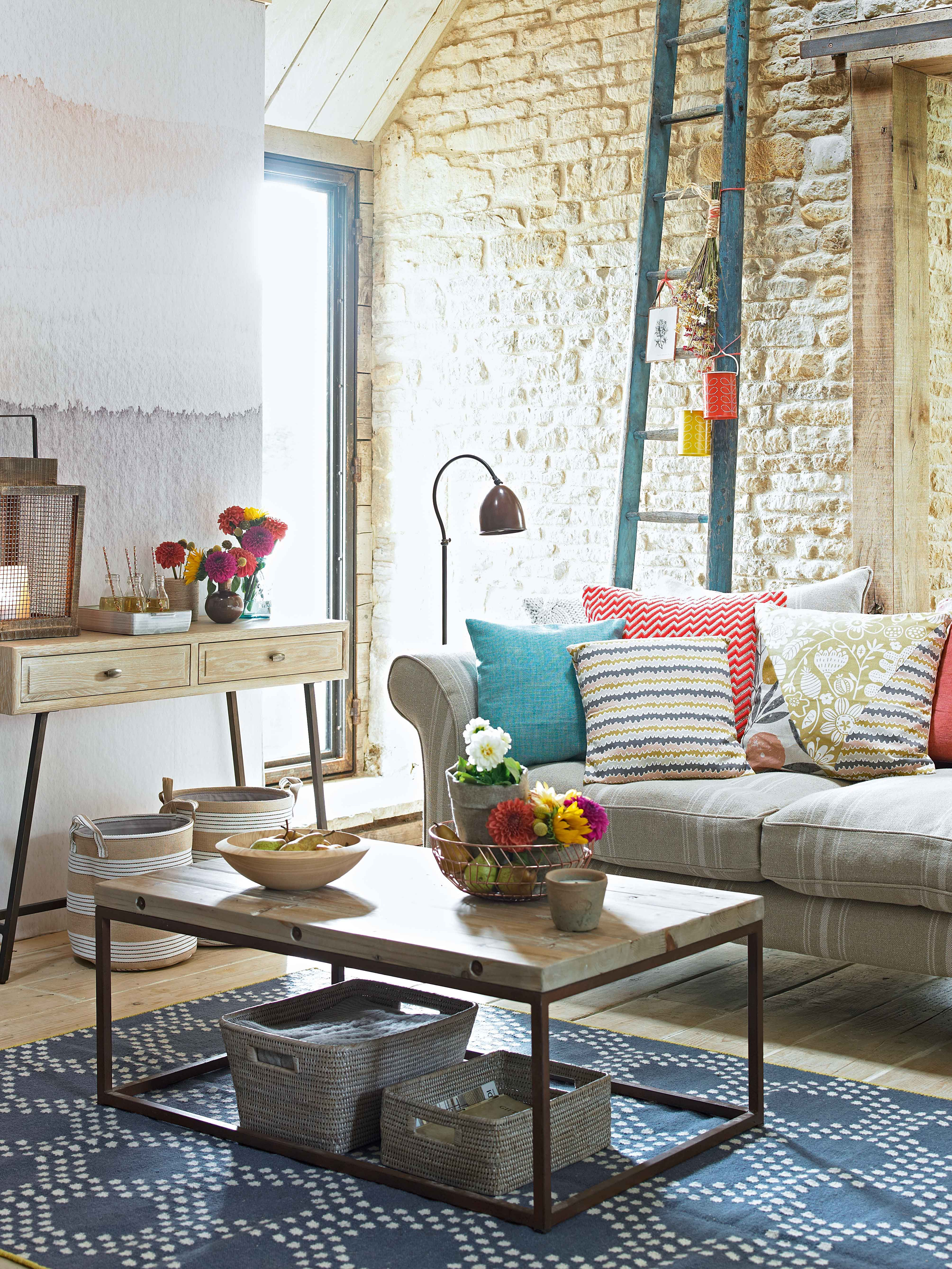 Add Jazzy Summer Colour To A Neutral Living Room In Accessories And